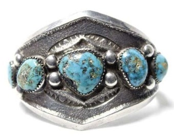 Antique Native American Navajo Tufa Sand Cast Sterling Silver Kingman Turquoise Bracelet
