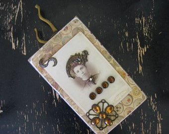 "Handcrafted Collage ""HOPE"" from Reclaimed Vintage Porch  Wood, Old Hardware, Vintage Jewelry, Victorian Photo and Typewriter Keys"