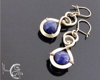 Delicate wirework earrings adorned with lapis lazuli gemstones