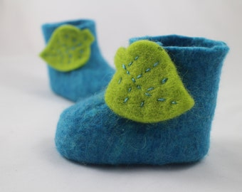 Blue Baby Boots with Leaf Velcro Tab