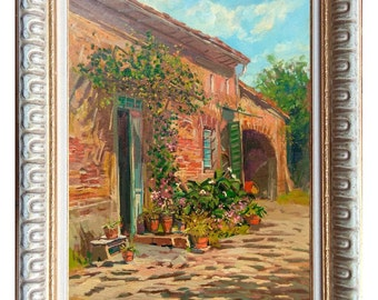 Italian painting courtyard in Tuscany country house original oil canvas framed G.Landi Italy