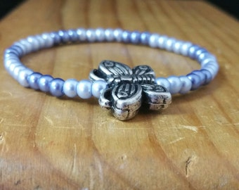 Blue Pearl Stretchy Bracelet with Butterfly
