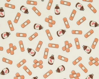 Erin Michael OOP Fabric for Moda - 5 Funky Monkeys Collection – Band-aids 26003-11 in Cream - One Yard