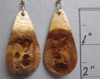 Rare Monkey Pod Exotic wood Earrings Lightweight Long Dangle Earrings ExoticWoodJewelryAnd handcrafted ecofriendly.