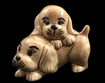 Vintage 1970s puppy dogs cuddling figurine - SALE retro