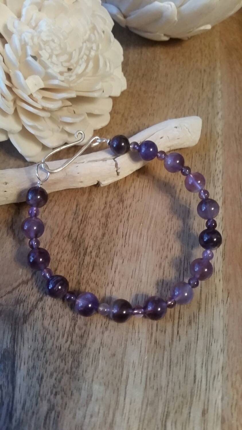 Genuine Amethyst Sterling silver wire Bracelet with silver ...
