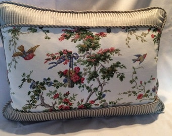Waverly Bouquet and Birds Pillow Cover Green and Beige