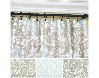 Taupe Window Curtains.Powder Blue Curtains.Damask Drapers.Baby Blue Curtains .Kitchen