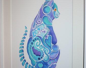 watercolour colourful cats