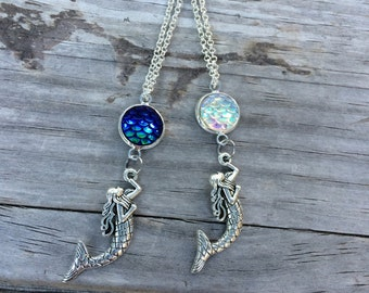 Mermaid Scale Necklace, Charm Necklace, Mermaid Necklace