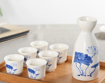 7 Pc Ceramic Sake Set Glazed Porcelain with Decal