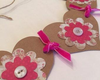 valentines heart garland banner party decor