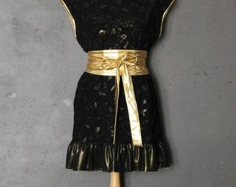 Jersey black dress golden arabesques flowers see-through