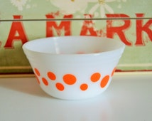 Vintage Federal Glass Orange Dots Mixing Bowl, White Milk Glass 5 inch Mid Century Kitchen