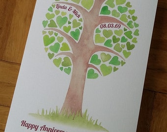 Personalised heart tree Anniversary Card