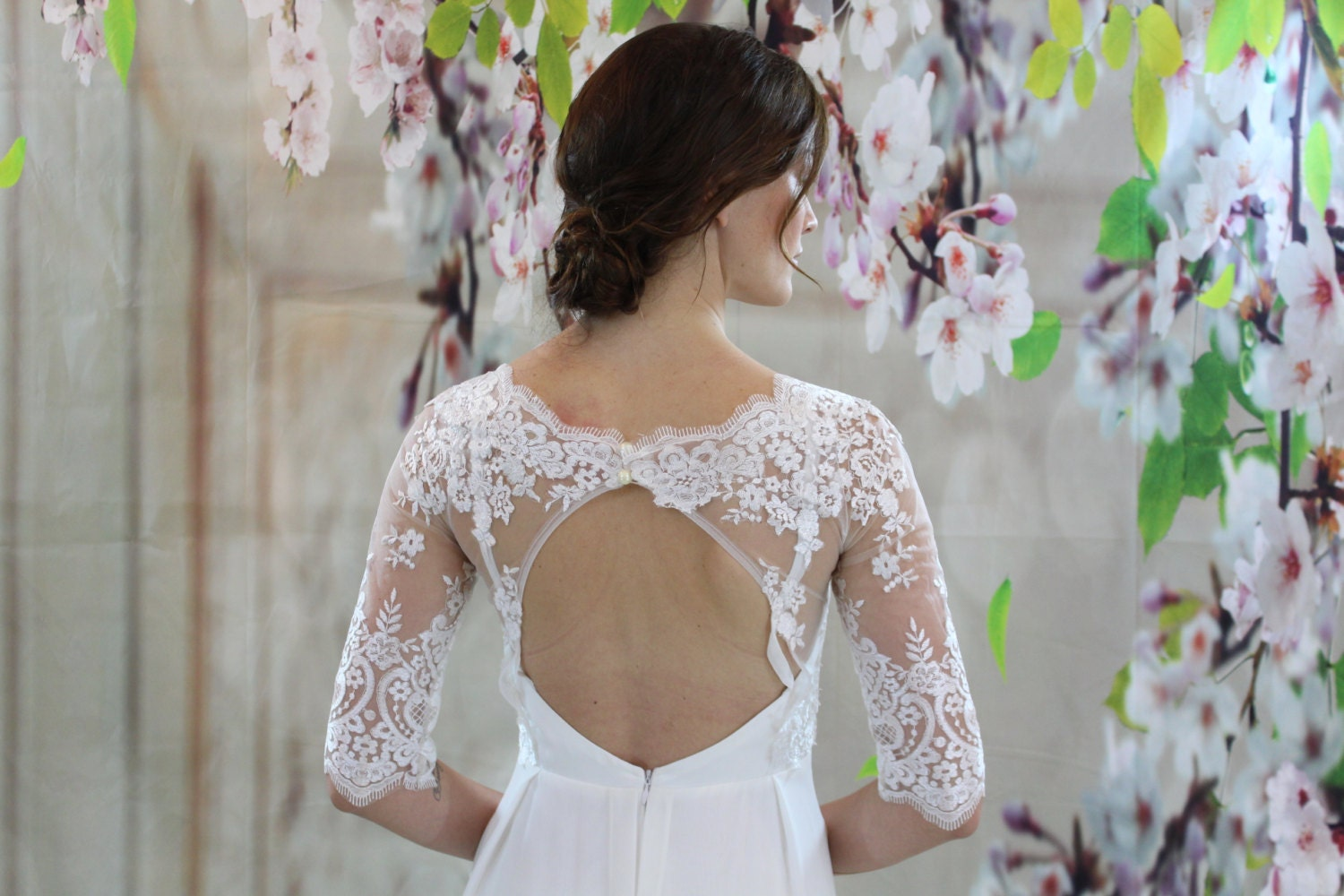 Simple Wedding Dresses With Lace Sleeves: Simple Lace Half Sleeves Chiffon Dress Beach Wedding Dress
