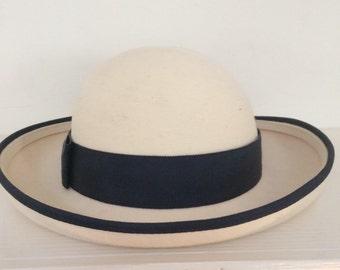 Ivory White Felt Brimmed Hat with Navy Grossgrain Trim - Frank Olive Felt Brimmed Hat