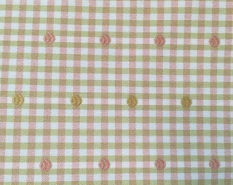 Pink and Green Gingham Check with Dots - Upholstery Fabric by the Yard