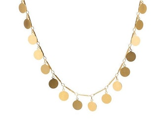 Stunning Handmade Gold Disc Charm Necklace - Length Start at 16 up to 30 inches