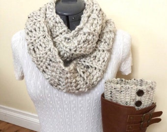 Ready to ship!! Boot cuffs with Infinity Scarf - Snowy Owl
