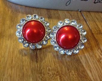 Big Red Pearl Stud Earrings. Nickel Free. 26mm. Acrylic plastic. 12