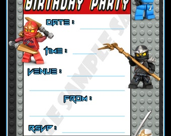 Lego Ninjago Birthday Party Invitations / Invites