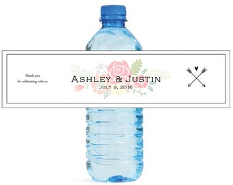 Shabby Chic arrows and flowers Wedding Anniversary Water Bottle Labels Customizable labels Self stick, easy to use festive labels