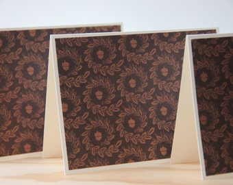 Acorn Note Card Set.  6 Thanksgiving  Note Cards.  Fall Note Cards.  Blank Note Card Set.  Seasonal Note Cards.  Acorn Cards.  Greeting Card