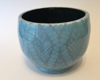 Light  Blue  Diamond Pattern Bowl ,Handmade- Wheel Thrown Bowl , Medium Size ,Great Gift, Functional Pottery, Ceramic Vessel, Home Decor.