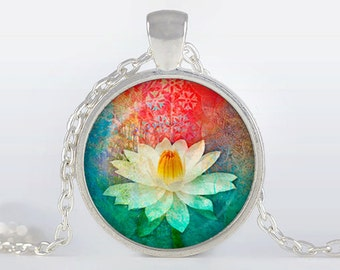 Yoga lotus pendant Yoga lotus Necklace Yoga lotus Jewelry, red, green