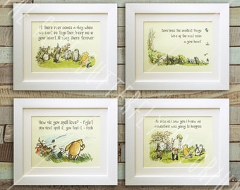 SET OF 4 Winnie the Pooh Quote Prints, Birth, Christening, Nursery, Birthday, Wedding, Picture Gift, Pooh Bear, *UNFRAMED* Tigger