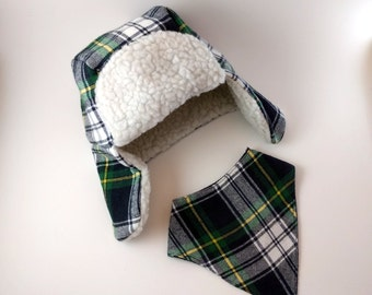 Baby & Toddler Trapper Hat With Bandana Bib - First Birthday Gift - Plaid Bomber Hat - Aviator Hat - Lumberjack Hat - Hipster Baby Hat