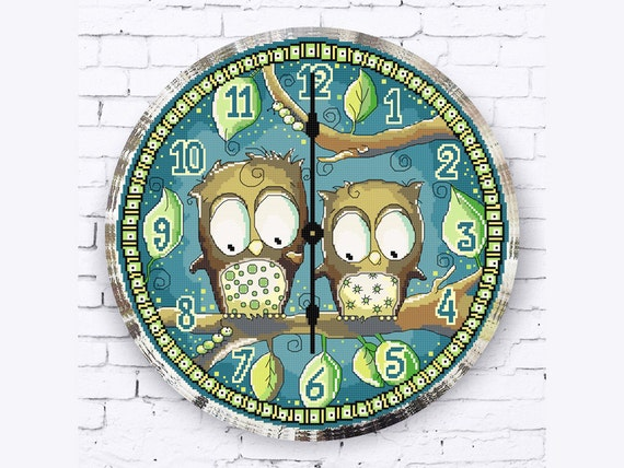 Owl Clock Cross Stitch Pattern, Funny Animal Embroidery Pattern, Cross Stitch Birds Pattern, Clock Face Pattern, Dial, PDF - PATTERN ONLY