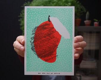 Risograph print of a mango
