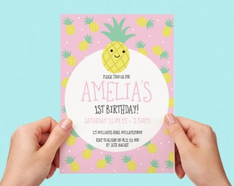 Cute Pineapple Kids Party Invite First birthday Baby Girl Pink 1st 2nd 3rd 4th 5th 6th 7th 8th 9th 10th Personalised Custom Printable Invite