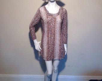 1960's snake print micro mini dress