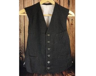 Waistcoat vest 1930s 30s TRUE VINTAGE, Size UK38 / S,  chore work paysan hobo steam punk boho  (WB120)