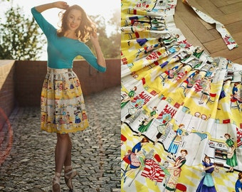Versatile Yellow Pleated Retro Wrap Skirt Housewife