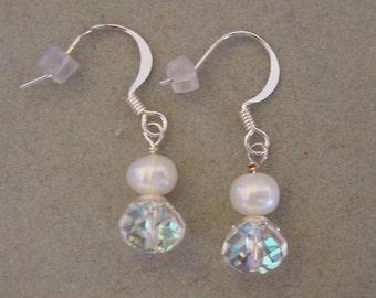 Freshwater Pearl Earrings with Swarovski crystal briolette Earrings Crystal AB Freashwater pearl jewelry