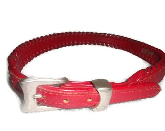 vintage JUSTIN TOP GRAIN red leather whipstitch trim silvertone indie boho belt women size 30