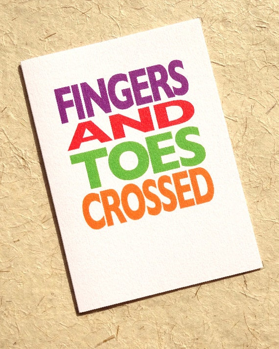 Fingers Crossed Encouragement Card Good Luck Colorful