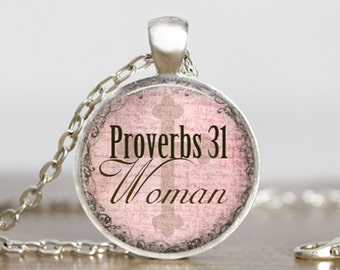 Proverbs 31 Woman/Proverbs 31 jewelry/Bible Verse Necklace/Christian Faith Jewelry/Christian Necklace/Virtuous Woman/Woman of Faith/