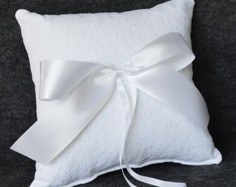 White lace wedding ring bearer pillow