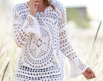 Crochet Jumper / Tunic with Flounce Sleeves and Lace Pattern