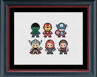 Marvel Cross Stitch Pattern Avengers - Mini Avengers Counted Cross Stitch Pattern - INSTANT DOWNLOAD