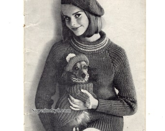 Vintage Dog Sweater and Lady Sweater Knitting patterns in PDF instant download version, PDF downloadable