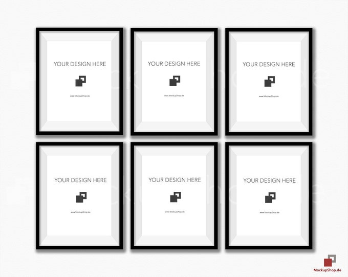 BLACK FRAME MOCKUP 8x10, Set of 6 vertical Frame mockup, Empty Frame Styled Stock Photography, Product Mockup, black frame mockup