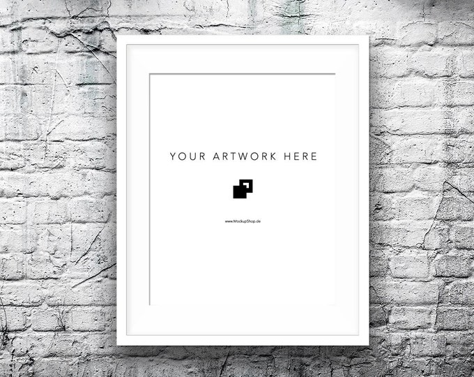 8x10 16x20 Vertical Digital WHITE FRAME MOCKUP, Styled Photography Poster Mockup, old White Brick Background, Framed Art, Instant Download