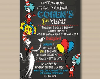 Dr. Seuss Birthday Party , Baby Shower Invitation