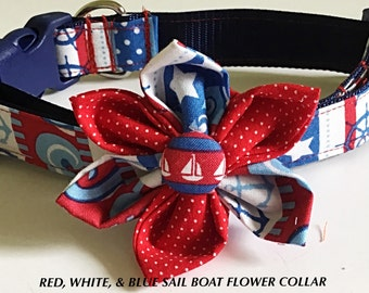 Red, White & Blue Nautical Flower Collar for Summer